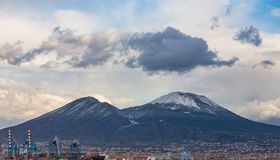 View from the Mediterranean Sea to the majestic volcano Mount Vesuvius, Italy stock photos