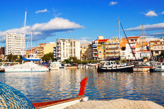 View of  mediterranean town from sea Stock Image