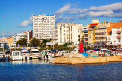 View of  mediterranean town from sea. L'Ampolla Stock Image