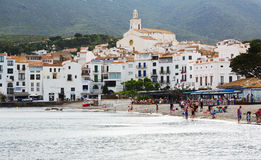 View of  mediterranean town from seaside. Cadaques Stock Image