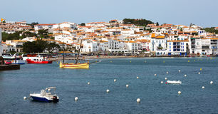 View of  mediterranean town from seaside. Cadaques Royalty Free Stock Image