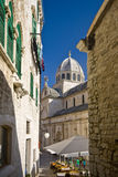 View on the medival palace nad St.James cathedral. Square in front of the St.James cathedral in Sibenik, listed in the UNESCO world heritage, built in medival Royalty Free Stock Images