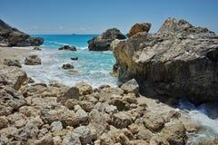 View of Megali Petra beach, Lefkada, Ionian Islands, Greece Royalty Free Stock Photos