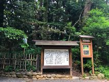 View of Meiji Shrine, located in Shibuya, Tokyo, is the Shinto shrine that is dedicated to the deified spirits of Emperor Meiji. Tokyo, Japan, 2rd, June, 2017 royalty free stock photo