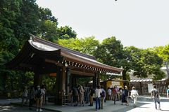 View of Meiji shrine, located in Shibuya, Tokyo. Tokyo, Japan, 2rd, June, 2017. View of Meiji shrine, located in Shibuya, Tokyo, is the Shinto shrine that is royalty free stock photo