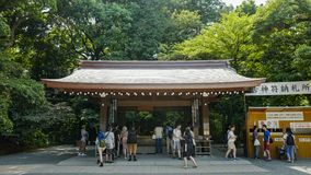 View of Meiji shrine, located in Shibuya, Tokyo. Tokyo, Japan, 2rd, June, 2017. View of Meiji shrine, located in Shibuya, Tokyo, is the Shinto shrine that is stock photo