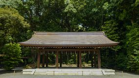 View of Meiji shrine, located in Shibuya, Tokyo. Tokyo, Japan, 2rd, June, 2017. View of Meiji shrine, located in Shibuya, Tokyo, is the Shinto shrine that is stock photos
