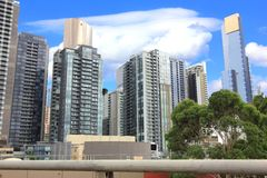 View of Melbourne City Skyscrapers Royalty Free Stock Images