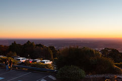 View of Melbourne at sunset from Mount Dandenong stock photos