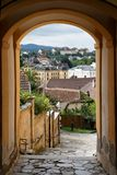 View of the Melk town through archway. View of the Melk town in Austria through the archway Stock Photography