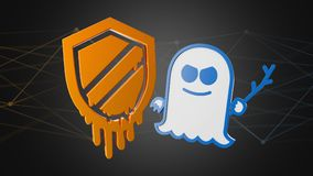 Meltdown and Spectre processor attack with network connection -. View of a Meltdown and Spectre processor attack with network connection - 3d render Stock Photo