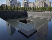 WTC, 9/11 memorial in New York. A view of the 9/11 memorial, the place where the WTC tower stood Stock Photography