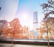 View of memorial 911 with sunlight, New York, USA Stock Images