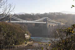 View of the Menai Suspension Bridge from Church Island, Isle of Anglesey, Wales Stock Photo