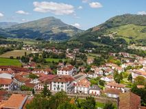 View from the Mendiguren Citadel - Saint Jean Pied de Port. Beautiful panorama view of the town and the surrounding green countryside from the Mendiguren Citadel royalty free stock image