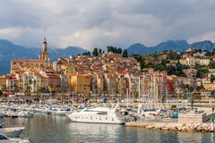 View of Menton city - French Riviera, France Royalty Free Stock Images