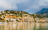 View of Menton city from the Mediterranean Sea Royalty Free Stock Photography