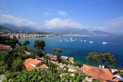 View of Menton, France. View of coastline of Menton city by summer, France Stock Images