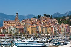 View of Menton town. France.  horizontal shot Stock Image