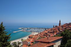 View of Menton town Stock Image