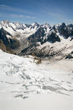 The view of The Mer de Glace (Sea of Ice) in Alps, France. The view of The Mer de Glace (Sea of Ice) in european Alps Royalty Free Stock Photography