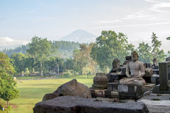 View on Merapi volcano from Borobudur temple Royalty Free Stock Photo