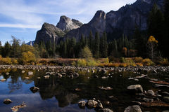 View from Merced river in Yosemite Stock Photos