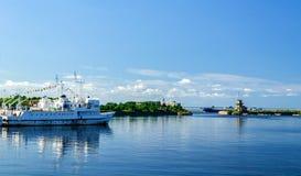 View of the merchants harbor in Kronstadt Stock Photos