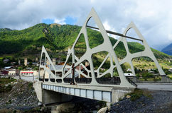 View of Mestia futuristic modern bridge,Upper Svaneti, Georgia Stock Images