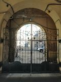 View of the  metal gate with an ornament royalty free stock image
