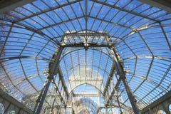 Palacio de Cristal. View of the metal structure of Palacio de Cristal, Parque del Buen Retiro, Madrid, Spain Royalty Free Stock Photo