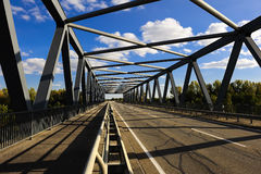 View through Metal Truss Bridge Royalty Free Stock Photos