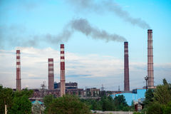 View of the metallurgical plant. Manufacture of cast iron and steel. Stock Photo