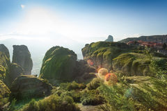 View on the Meteora mountains and monastery Royalty Free Stock Images