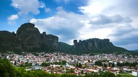 View of Meteora rocks and Trikala villages at daytime in sunshine and great clouds fly over - timelapse stock video footage