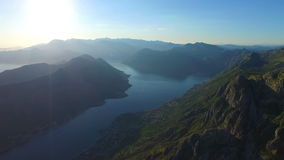 View from 800 meters heigh to the Kotor Bay in stock video