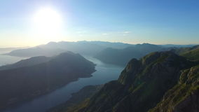 View from 800 meters heigh to the Kotor Bay in stock footage