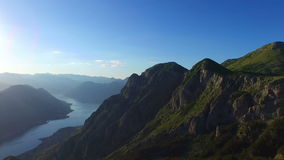View from 800 meters heigh to the Kotor Bay in stock video footage