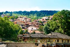 View of Metovo village. located in Epirus on Pindos mountain. Gr stock image