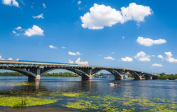 View of Metro Bridge over Dnieper in Kyiv, Ukraine Royalty Free Stock Photography