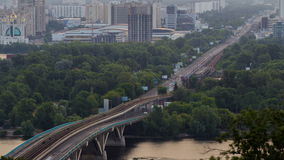 View of Metro bridge over Dnieper timelapse, Kiev stock video