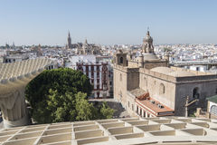 View from Metropol Parasol of Annunciation church, Collegiate Ch Stock Images