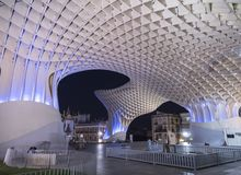 View of Metropol Parasol Night , popularly called `Mushrooms of Seville`, carried out by the architect Jürgen Mayer, Seville Royalty Free Stock Photo