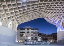 View of Metropol Parasol Night , popularly called `Mushrooms of Seville`, carried out by the architect Jürgen Mayer, Seville Royalty Free Stock Photos
