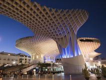 View of Metropol Parasol Night , popularly called `Mushrooms of Seville`, carried out by the architect Jürgen Mayer, Seville Royalty Free Stock Image