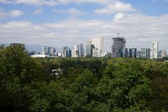 View of Mexico City from Bosque de Chapultepec city park. View of Mexico City from Bosque de Chapultepec park Royalty Free Stock Photo