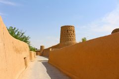 Meybod fortifications: town walls and towers. Meybod is a central desert city in Iran stock image