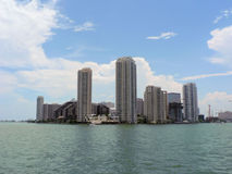 View of Miami. Skyscrapers in Miami with view from the ocean Royalty Free Stock Photography