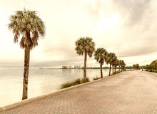 View of Miami coastline from Rickenbacker Causeway on a cloudy d Stock Photography