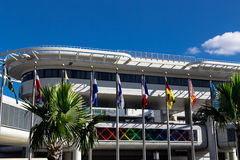 View of Miami Internatinal Airport with flags Stock Photography